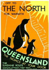 Off to the North for Warmth, Queensland, Australia. Vintage Travel poster by Percy Trompf